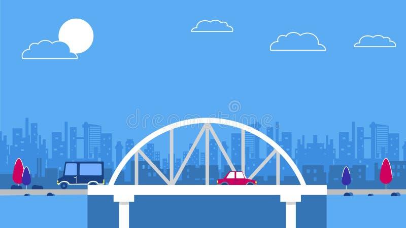 在城市天空刮板背景的一座桥梁 红色减速火箭的样式汽车 向量 蓝色和红颜色计划 向量例证