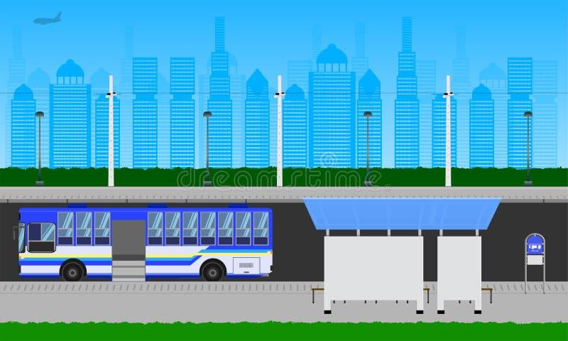 在城市天空蔚蓝公交车站的室外路在驻地杆灯标志水平的传染媒介例证eps10 库存例证