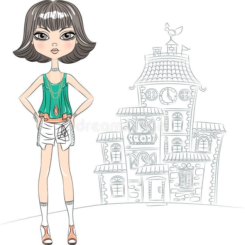 在城市导航行家时尚女孩上面模型 库存例证