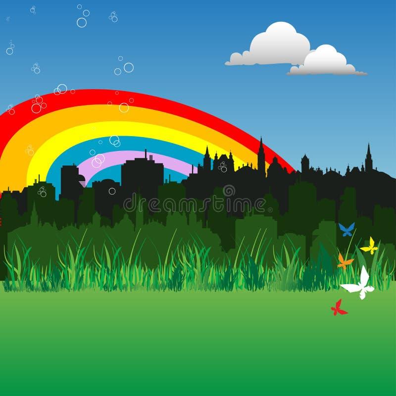 在城市彩虹之上 皇族释放例证