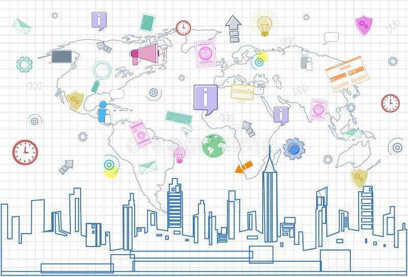 在城市摩天大楼视图都市风景的社会媒介通信互联网连接和被摆正的世界地图 皇族释放例证