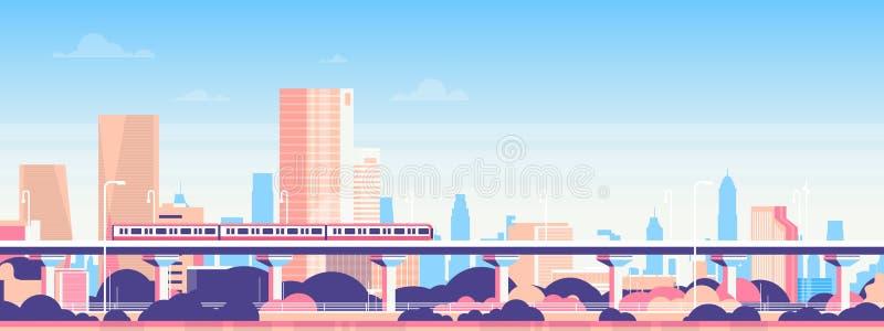 在城市摩天大楼视图都市风景背景地平线平的横幅的地铁 皇族释放例证