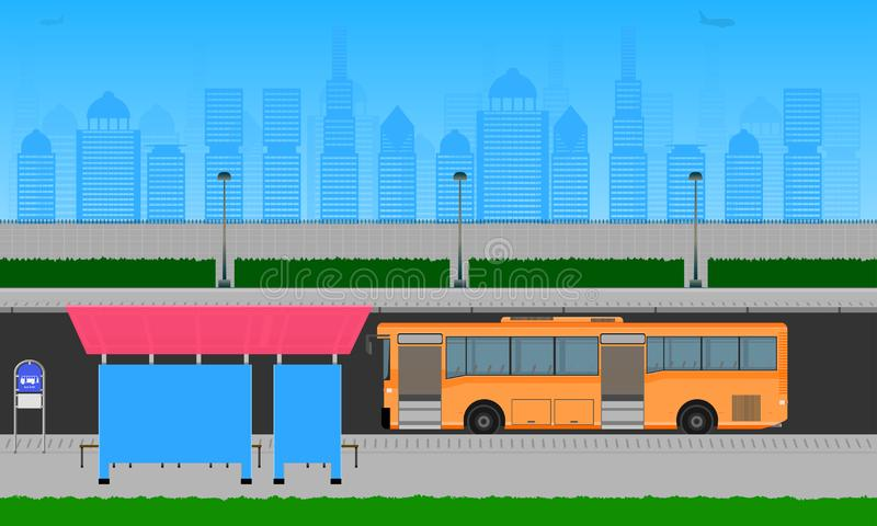 在城市橙色公交车站的室外路在驻地杆灯标志水平的传染媒介例证eps10 库存例证
