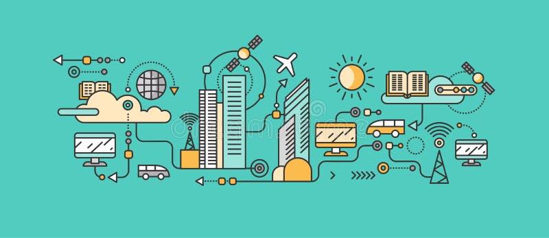 在城市的基础设施的聪明的技术 向量例证