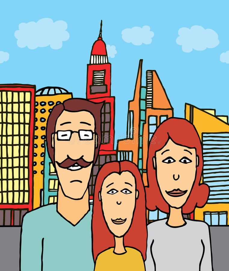 在城市的愉快的家庭 库存例证