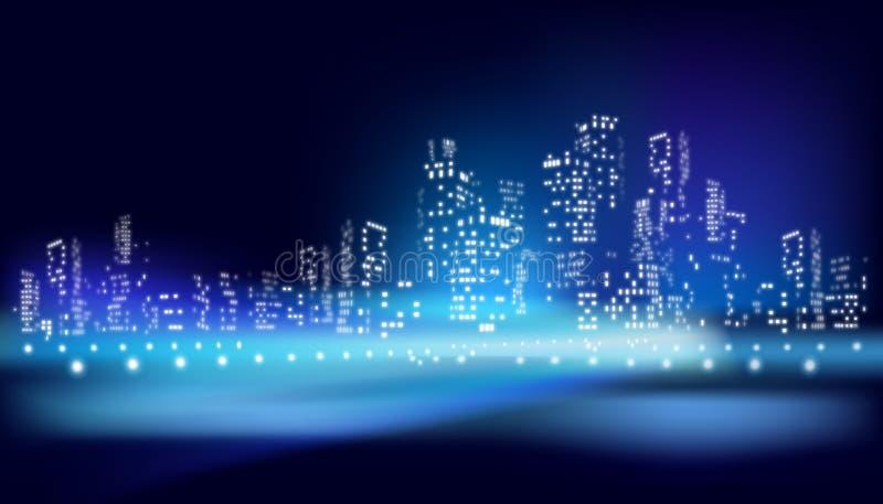 在城市的看法在晚上 也corel凹道例证向量 向量例证