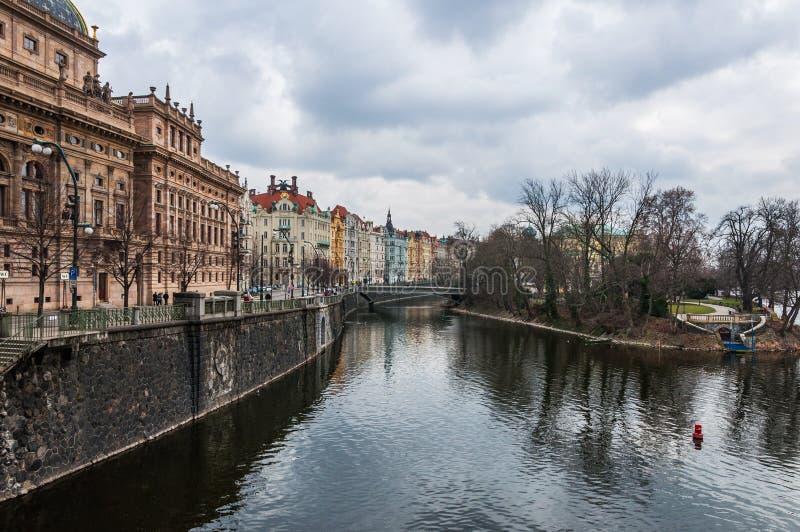 在城市的美丽的景色从河 免版税库存图片