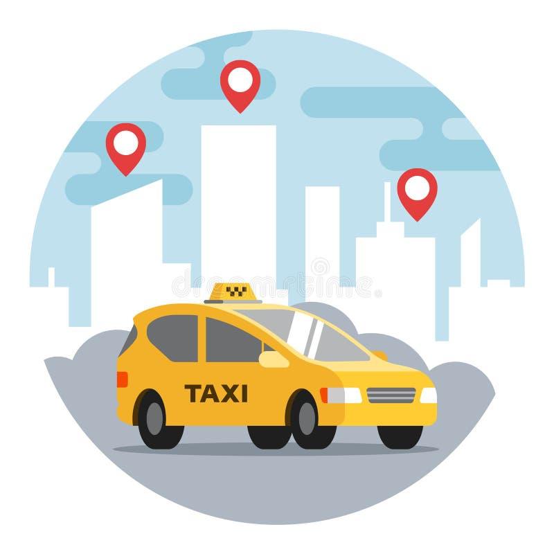 在城市的背景的黄色出租汽车有命令标记的 库存例证