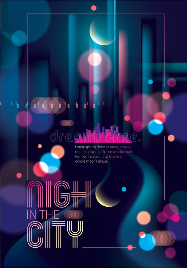 在城市的轻的夜, bokeh抽象背景弄脏了光 e 库存例证