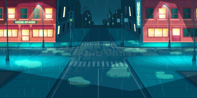 在城市的降雨量,镇街道动画片传染媒介 库存例证
