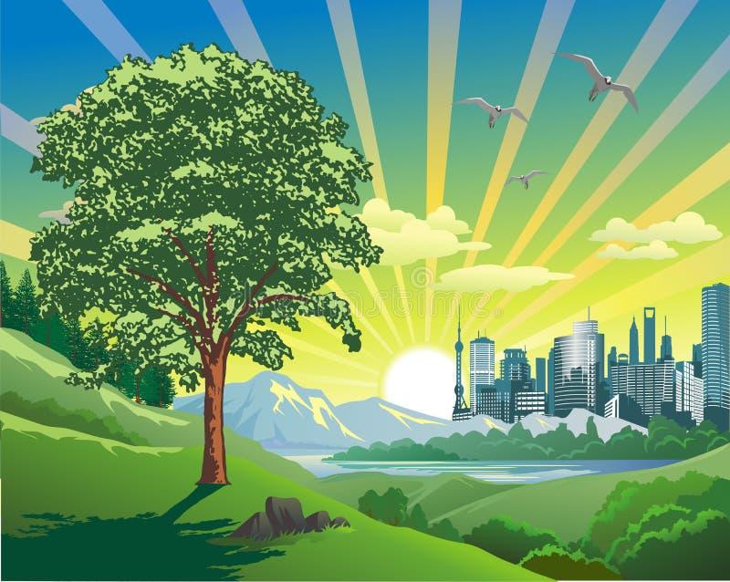 在城市的风景日出 向量例证
