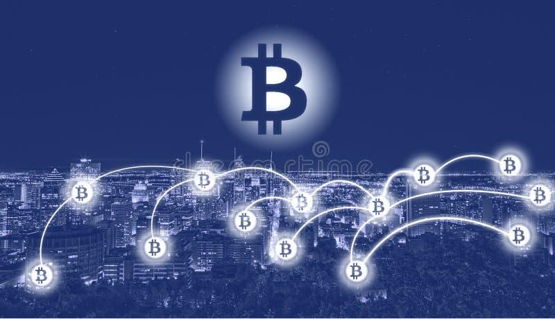 在城市的Bitcoin标志 库存照片