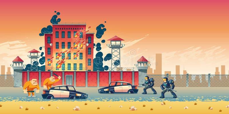 在城市监狱动画片传染媒介概念的暴乱 库存例证