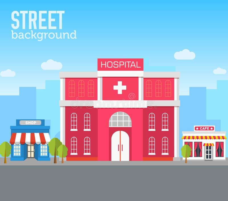 在城市空间的医院大厦与在平的样式背景概念的路 传染媒介例证设计 库存例证