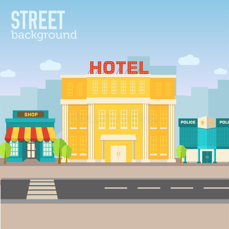 在城市空间的旅馆大厦与在舱内甲板的路 库存例证
