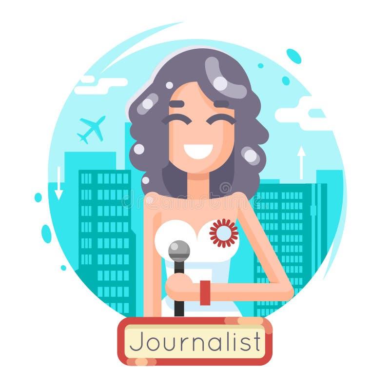 在城市背景平的设计模板的新闻报告新闻工作者记者女性女孩字符大众传播媒体标志 向量例证