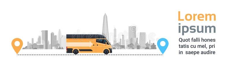在城市背景的送货车在地点尖之间 运输运输,快速的服务卡车的产品物品 向量例证