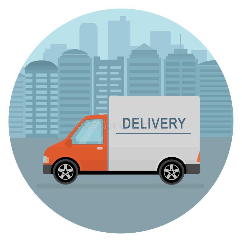 在城市背景的送货车 运输运输的产品物品 库存例证
