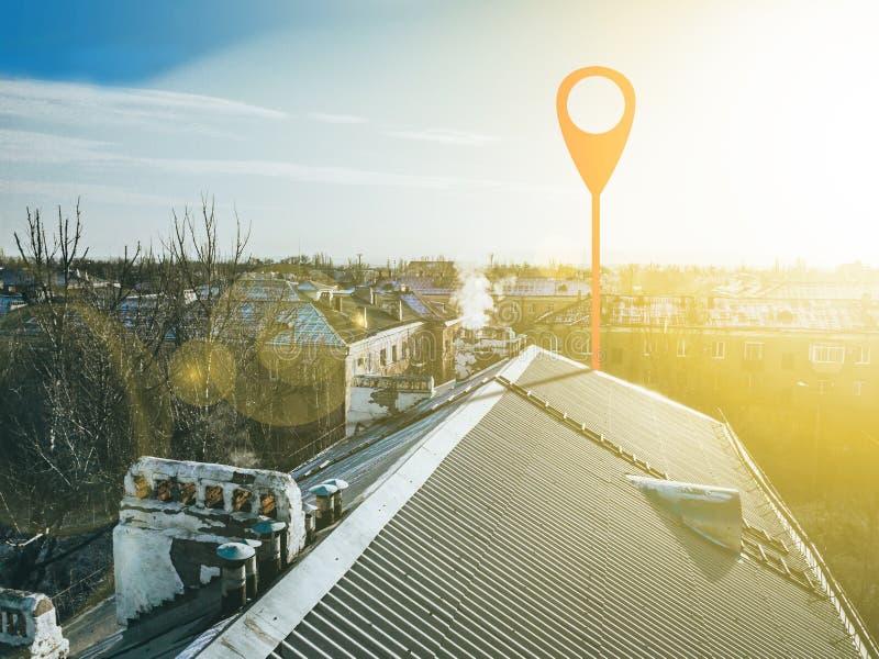 在城市街道上的Geotag点 鸟瞰图b 库存图片