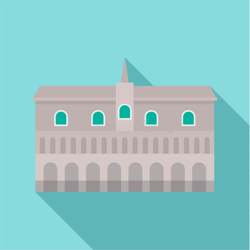 在城市象,平的样式的历史大厦 库存例证