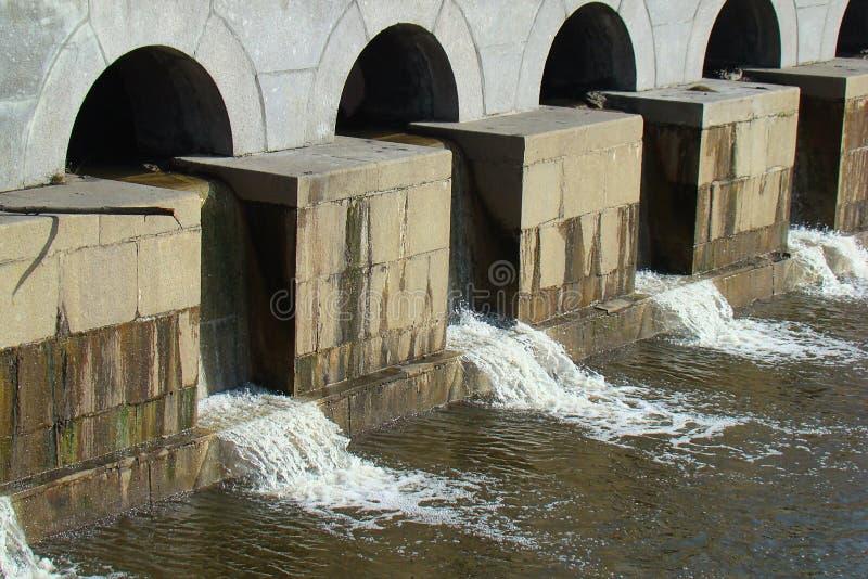在城市运河的水坝,排泄水 库存图片