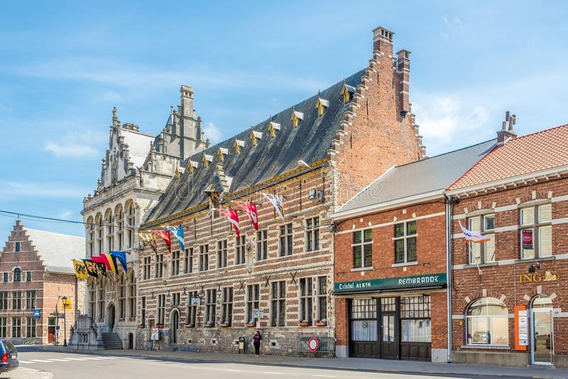 在城镇厅的看法在祖时莱厄夫-比利时 免版税库存照片