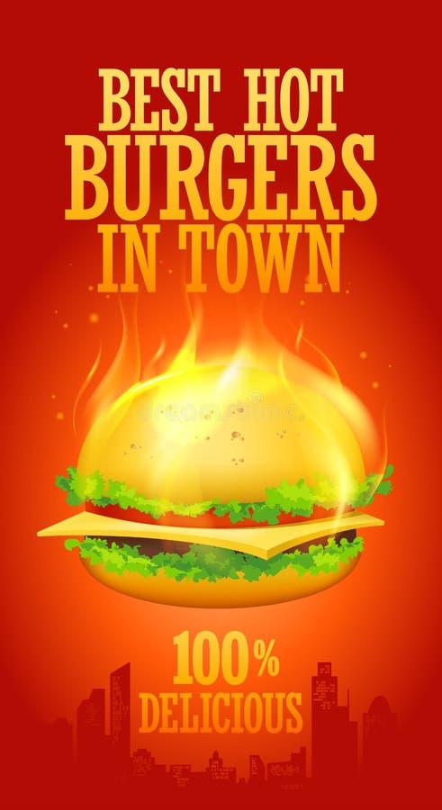 在城镇设计的最佳的热汉堡。 向量例证