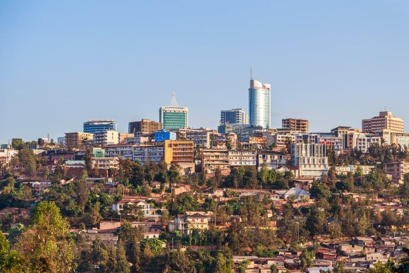 在基加利,卢旺达城市bussiness区的全景, 库存图片