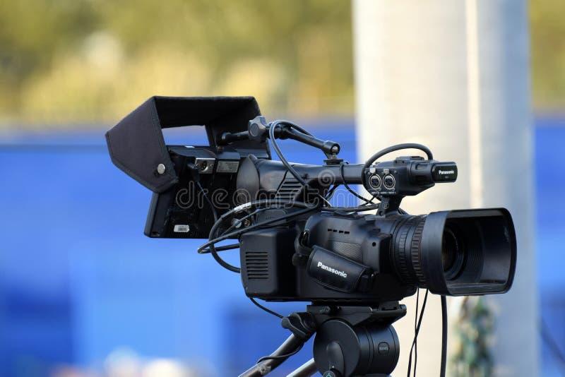 在基地和垒球事件期间, Videocam设定了 免版税库存图片