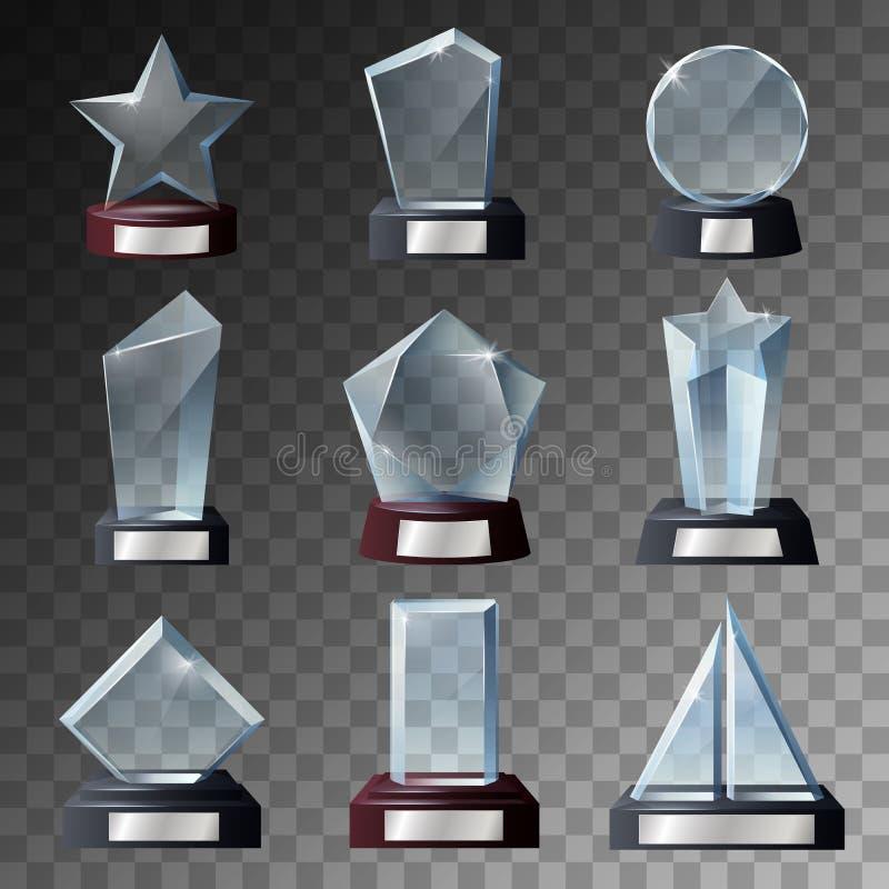 在基地的玻璃战利品和奖模板 向量例证