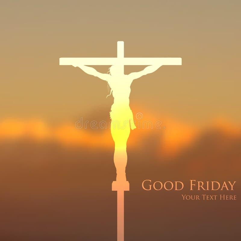 在基督受难日的耶稣基督在十字架上钉死 向量例证