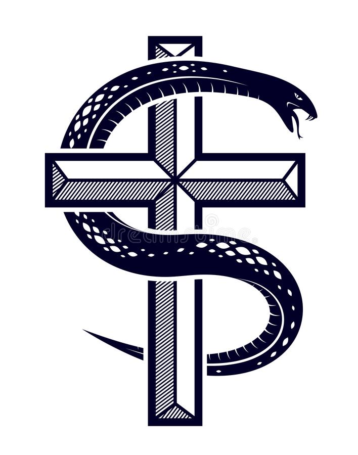 在基督徒十字架附近的蛇套、在善恶之间的奋斗的圣徒和罪人、的爱憎、象征性的生与死 库存例证