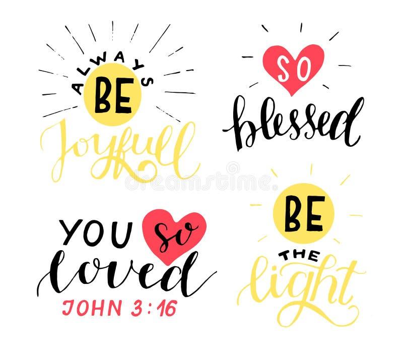 在基督徒行情上写字的设置4手是快乐的 您如此爱 ?? ? 向量例证
