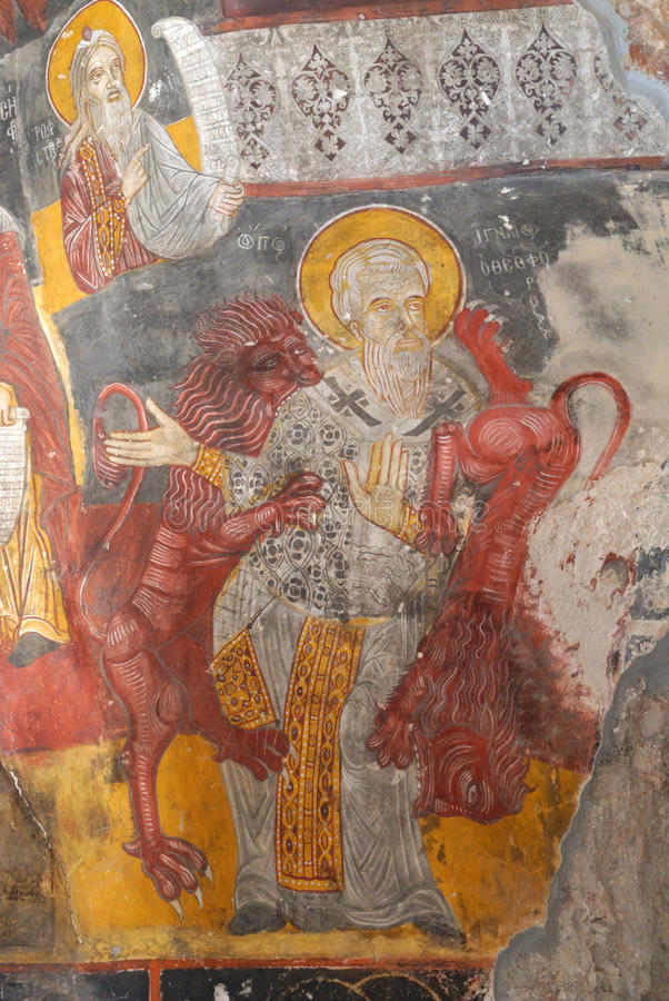 在基督教的古老宗教绘画 免版税库存图片