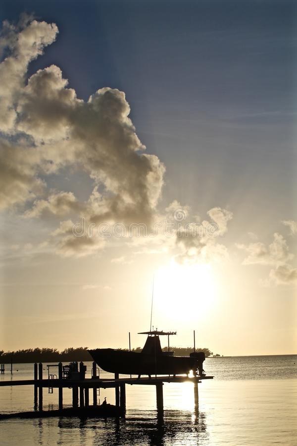 在基韦斯特岛,佛罗里达的日落 免版税库存图片