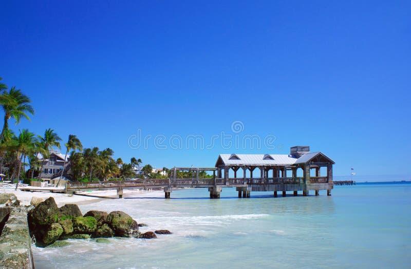 在基韦斯特岛,佛罗里达群岛的老码头 免版税库存照片
