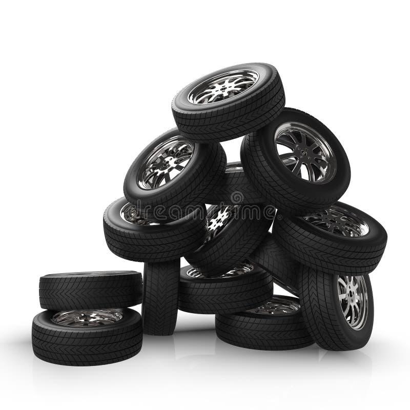 在堆堆积的车轮 山汽车轮子 3d翻译 免版税库存图片