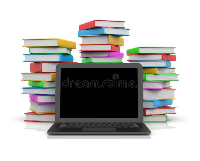 在堆的便携式计算机书前 向量例证