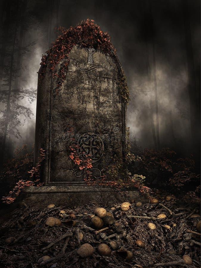 在堆的墓碑头骨 向量例证