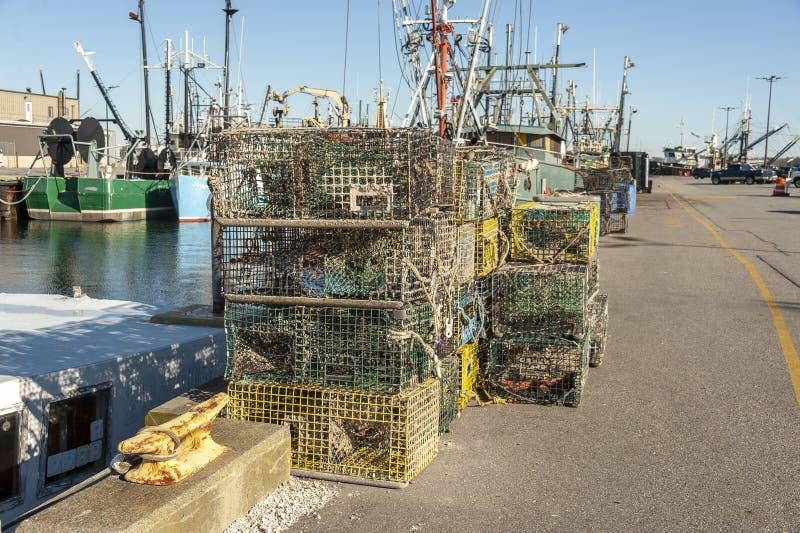 在堆的虾笼 免版税库存图片