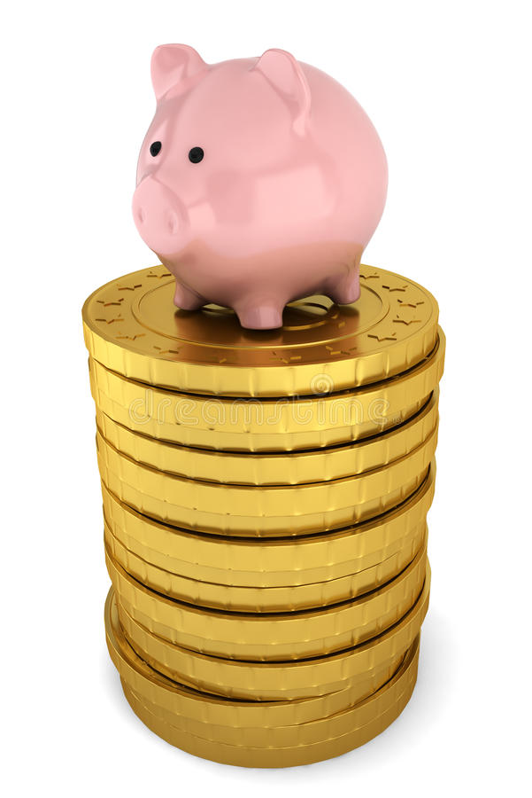 在堆的Piggybank金黄硬币 库存例证