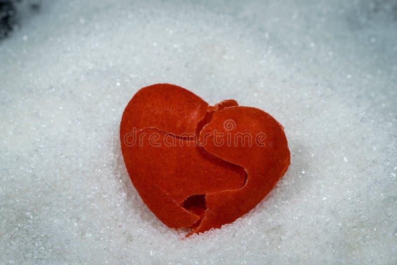 在堆糖五谷,糖心脏健康ris的红色伤心 免版税库存照片