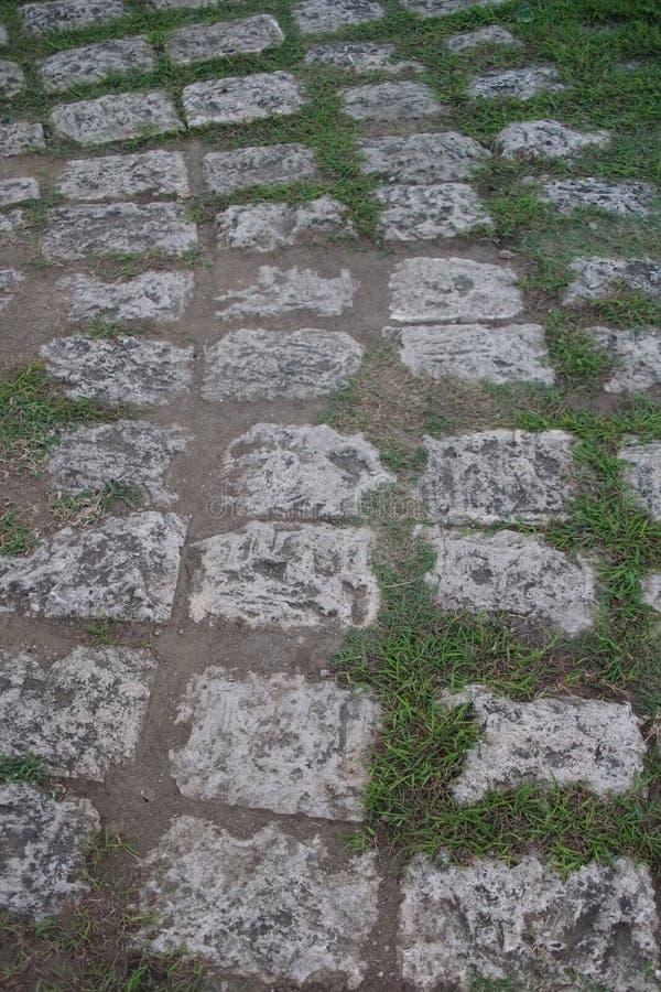 在堡垒圣佩德罗火山,宿雾,菲律宾的石走道 库存图片
