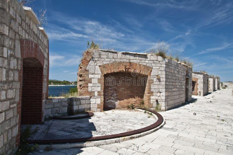 在堡垒圣尼古拉斯屋顶的发射孔 免版税库存照片