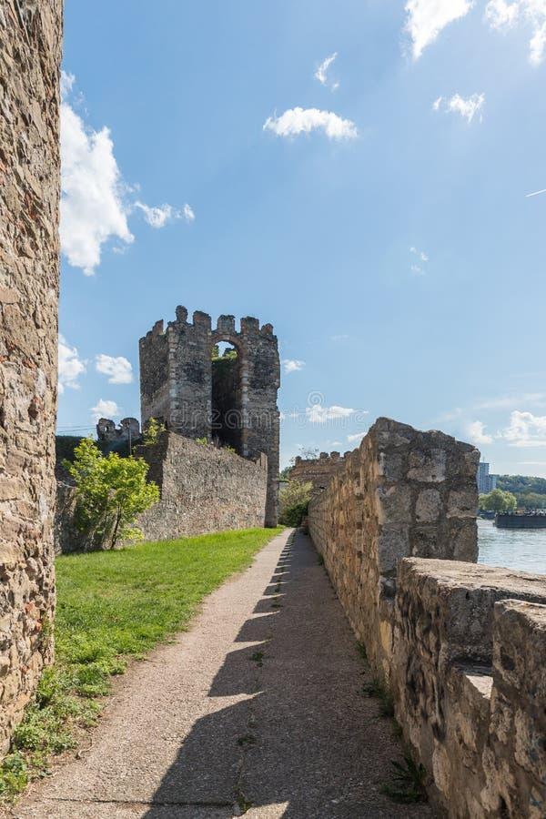 在堡垒墙壁附近的段落在斯梅代雷沃堡垒的废墟,站立在多瑙河的银行在斯梅代雷沃 库存图片