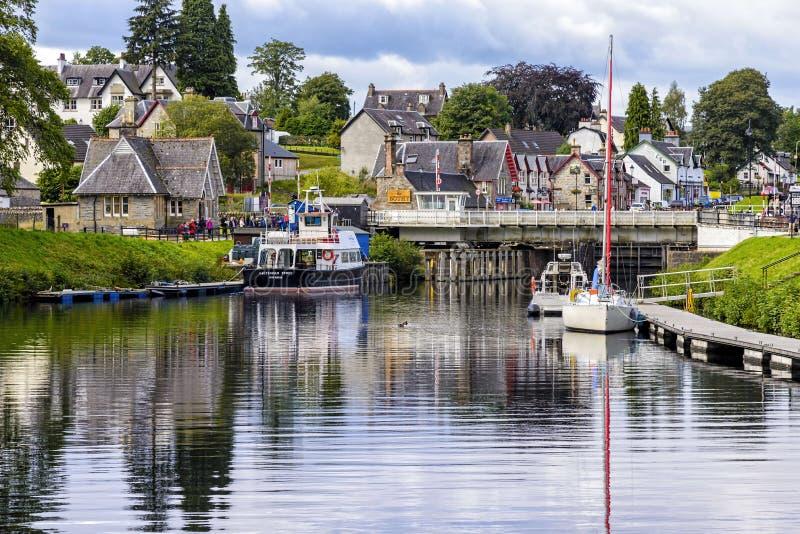 在堡垒奥古斯都,苏格兰的古苏格兰运河 免版税库存照片