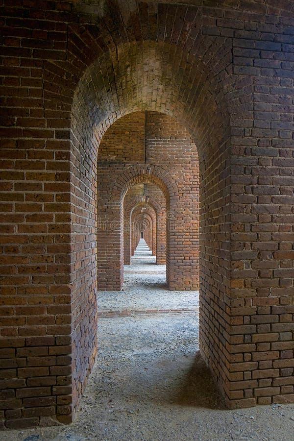 在堡垒杰斐逊的长,狭窄的拱道隧道 图库摄影
