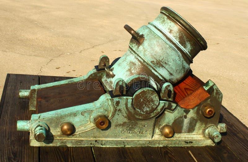 在堡垒的老大炮在圣奥斯丁佛罗里达转动了绿色与年龄 免版税库存照片