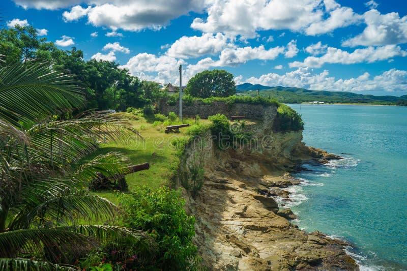 在堡垒詹姆斯的老大炮在安提瓜岛海岛 图库摄影