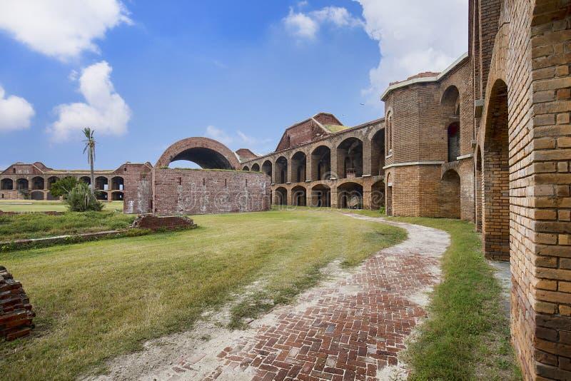 在堡垒里面杰斐逊地面在干燥Tortugas的 免版税库存照片